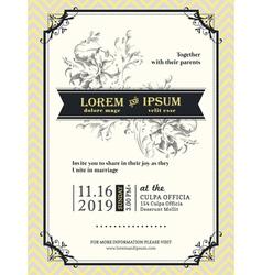 Vintage Wedding invitation frame template vector image