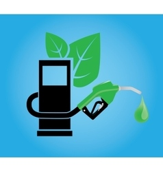 biofuel concept with gasoline pump and green leaf vector image vector image