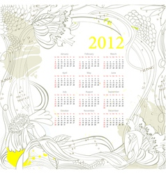 calendar for 2012 on grunge background vector image vector image