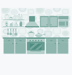 kitchen with furniture set cozy kitchen interior vector image