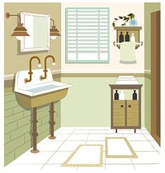 Retro Washroom Interior vector image vector image