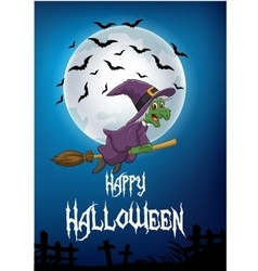Witch riding broom vector image vector image
