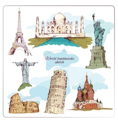 World landmark sketch colored vector image vector image