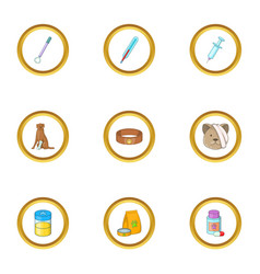 animal clinic icons set cartoon style vector image vector image