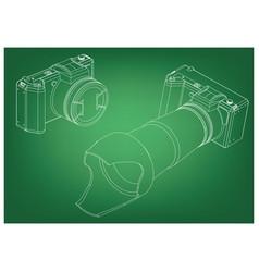 camera on green vector image