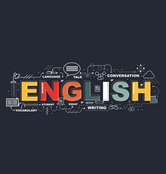 design concept of word english website banner vector image vector image