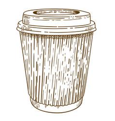 Engraving of takeaway cup vector