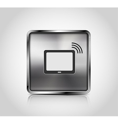 Metal icon tablet pc wireless connection vector image vector image