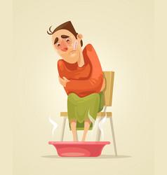sad sick man character warms his feet vector image