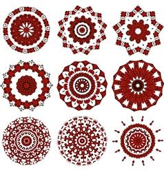 Set of black and red mandalas vector image