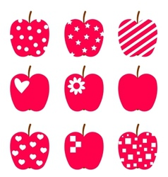 Set of red apples Stylized icons isolated on white vector image vector image