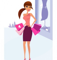 woman shopping in the city vector image vector image