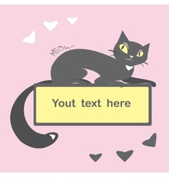 Background with black cat and space for text vector image vector image