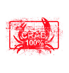 crab 100 percent - red rubber grungy stamp in vector image vector image