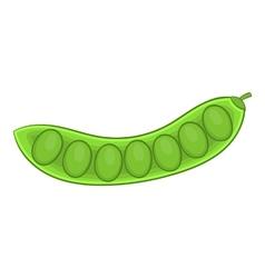 Green pea pod icon cartoon style vector