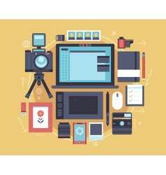 Photographer stuff and elements Flat concept of vector image vector image