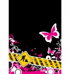pink floral construction vector image