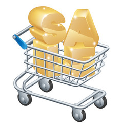 sale shopping trolley vector image vector image