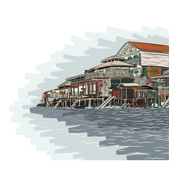 Waterside buildings vector image