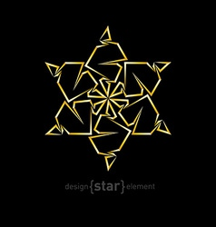 Abstract gold flower on black background vector