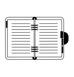 address book open symbol in black and white vector image