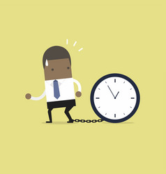 african businessman gets chained with big clock vector image