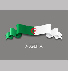 Algerian flag wavy ribbon background vector