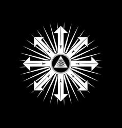 Ancient magical sigil occult mystic symbol icon vector