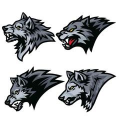 Angry wolf head logo sports mascot set vector