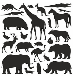 Animals silhouette set vector