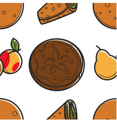 Armenian food bread loaf fruit and roll lavash vector