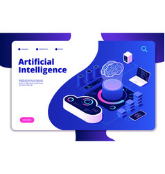 artificial intelligence landing ai smart digital vector image