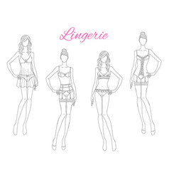 beautiful fashion models in lace lingerie vector image
