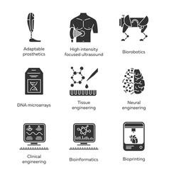 Bioengineering glyph icons set biotechnology vector