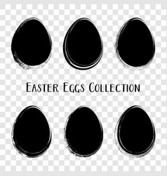 Black easter eggs brush stroke style vector