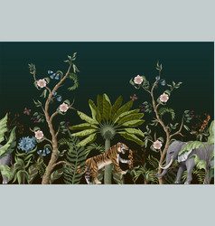 border with peony bushes and tigers in chinoiserie vector image