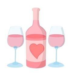 Bottle of wine with two wine glasses vector