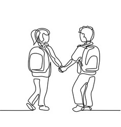boy and girl going back to school with bags vector image