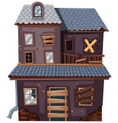 Brick house with broken door and windows vector