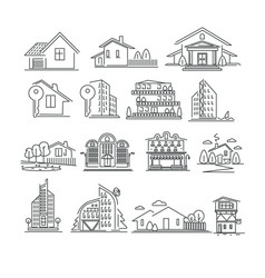 Buildings or real estate isolated outline icons vector