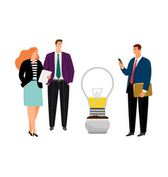 Business people planting idea vector