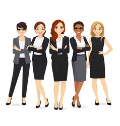 business woman team set vector image
