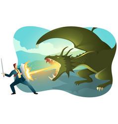 Businessman fighting a dragon vector
