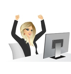 Businesswoman raising her hands vector
