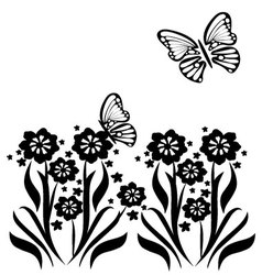Butterflies and flowers 14 vector