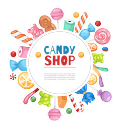 candy shop confectionery and sweets frame vector image