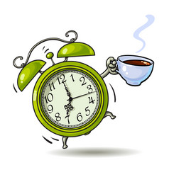 Cartoon green alarm clock with cup of coffee vector