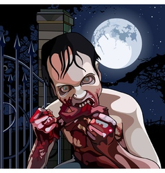 cartoon zombie eat bloody meat on a moonlit night vector image