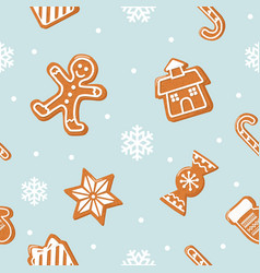 Christmas seamless background gingerbread man vector