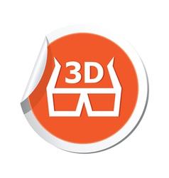 Cinema glasses 3d icon orange sticker vector